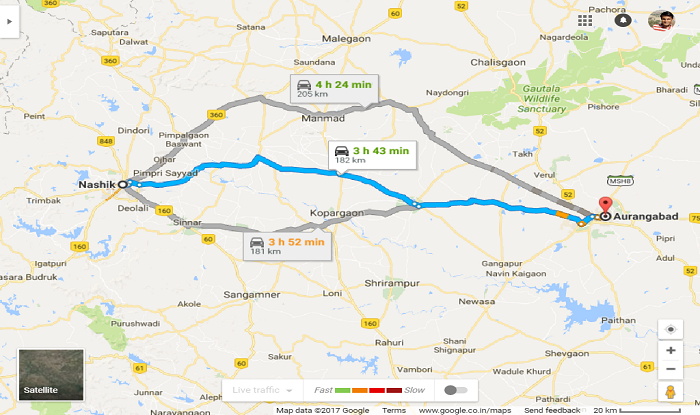Nashik to Aurangabad Distance Highway Map