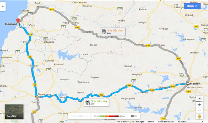 Nashik to Daman Cab/Taxi Map