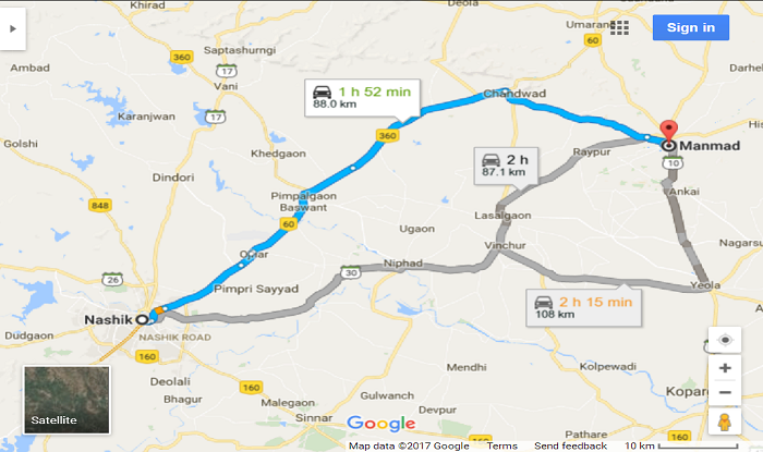 Nashik to Manmad Cab/Taxi Direction Map