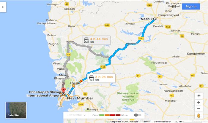 Nashik to Mumbai Airport Cab/Taxi Map