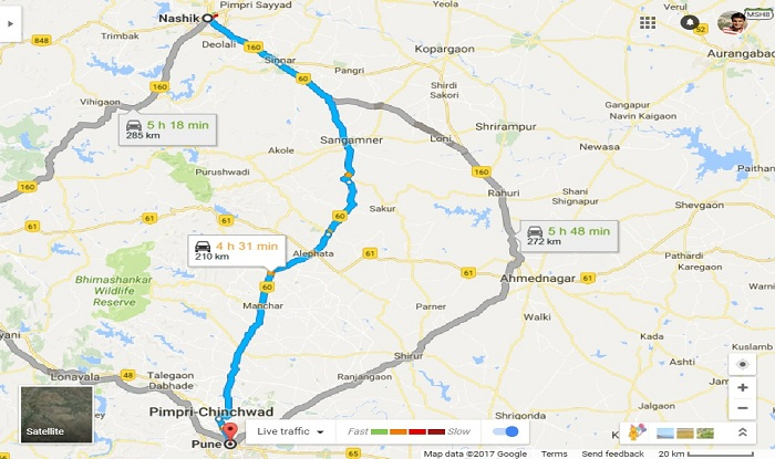 nashik-to-pune-taxi-cab-mini-bus-map
