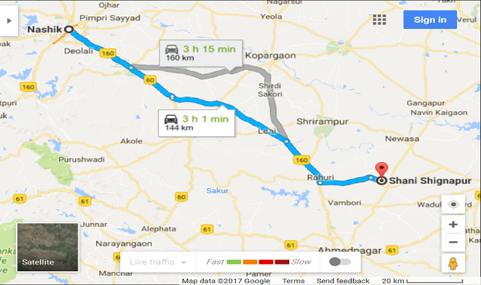 Nashik to Shani-Shingnapur Cab/Taxi  Map Direction