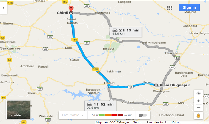 Shani-Shinganapur to Shirdi Cab/Taxi Distence Map