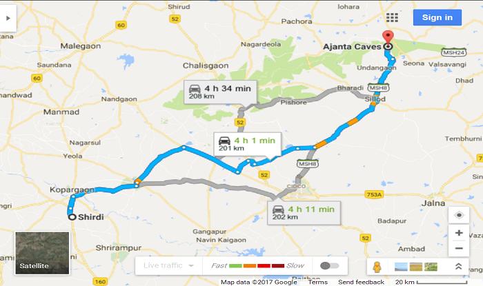 Shirdi to Ajanta Cab/Taxi Distance Map