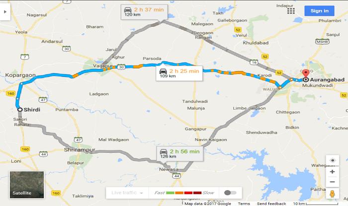 Shirdi to Aurangabad Cab/Taxi Distence Map