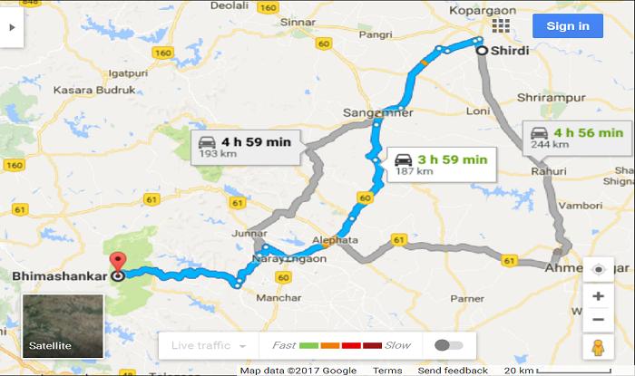Shirdi to Bhimashankar Cab/Taxi Distance Map
