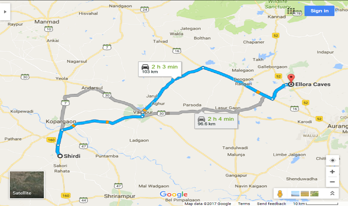 Shirdi to Ellora/Verul Cab/Taxi Distance Map