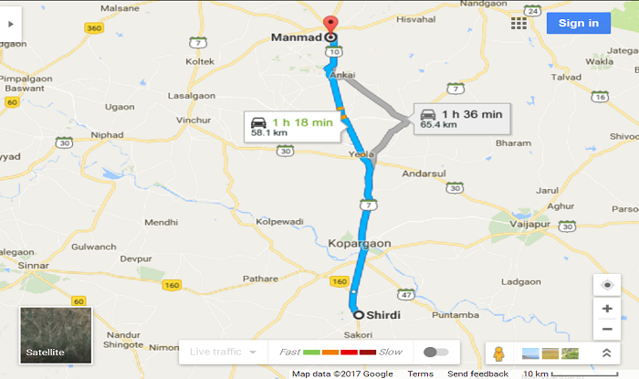 Shirdi to Manmad/Manmad Station Cab/Taxi Distance Map