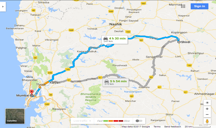 Shirdi to Mumbai Cab/Taxi Distance Map