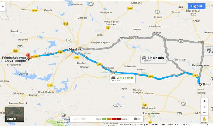 Shirdi to Trimbakeshwar Cab/Taxi Distance Map