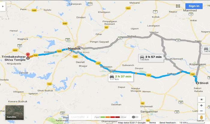 Shirdi to Trimbakeshwar Cab/Taxi Distance Map