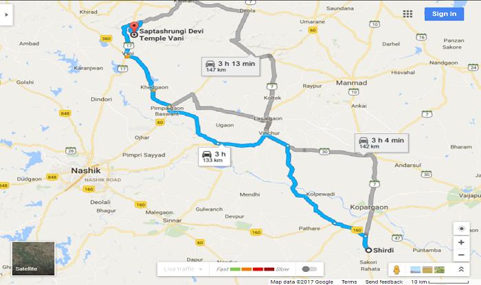 Shirdi to Vani Saptashrungi Gad Cab/Taxi Distance Map