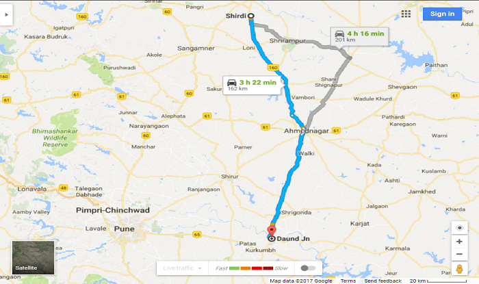 Shirdi to Daund/Daund Station Cab/Taxi Distance Map